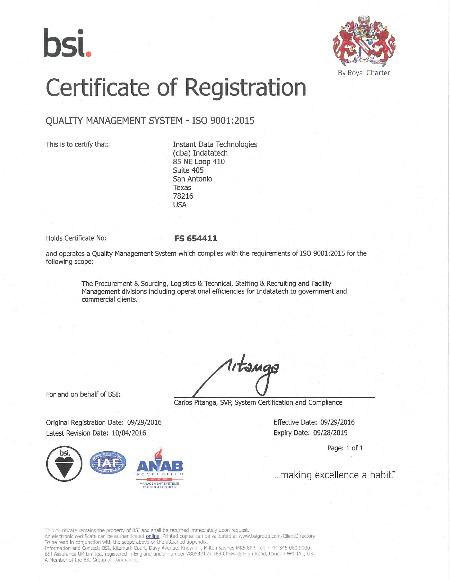 Indatatech receives iso 90012015 certification indatatech download pdf version xflitez Gallery