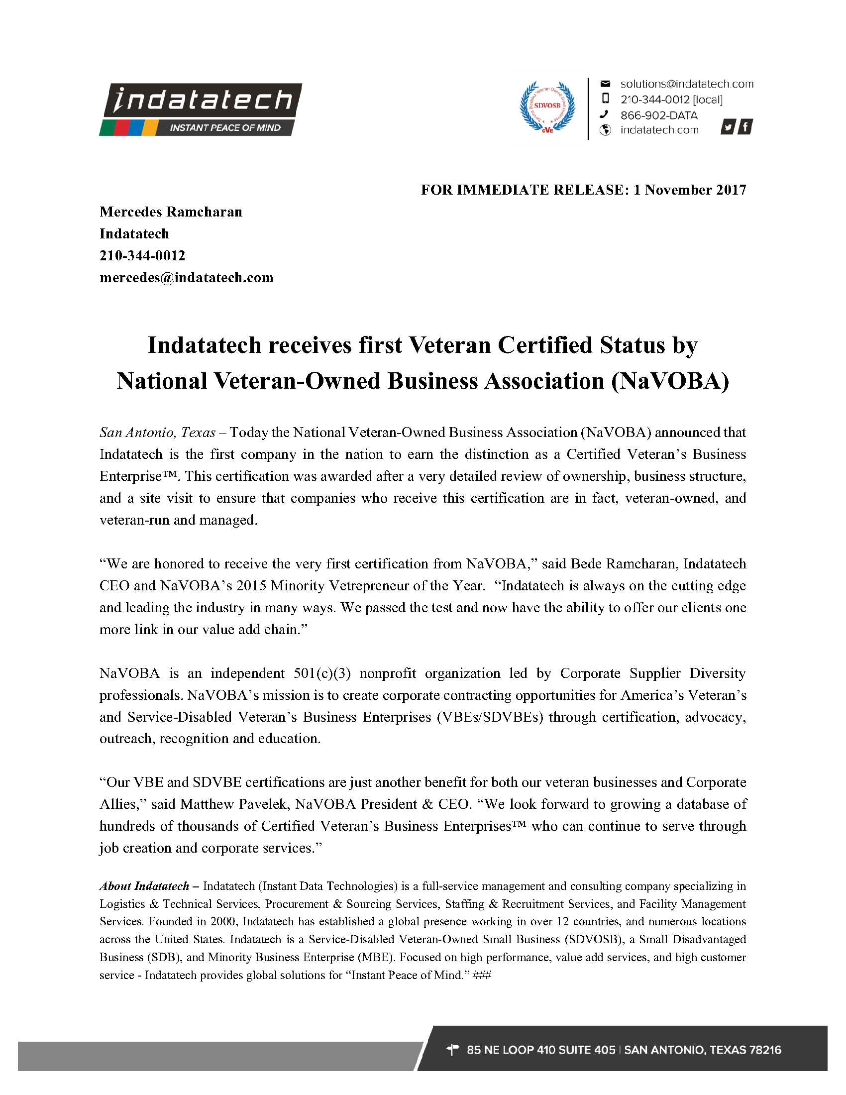 Indatatech receives first veteran certified status by national indatatech receives first veteran certified status by national veteran owned business association navoba xflitez Gallery